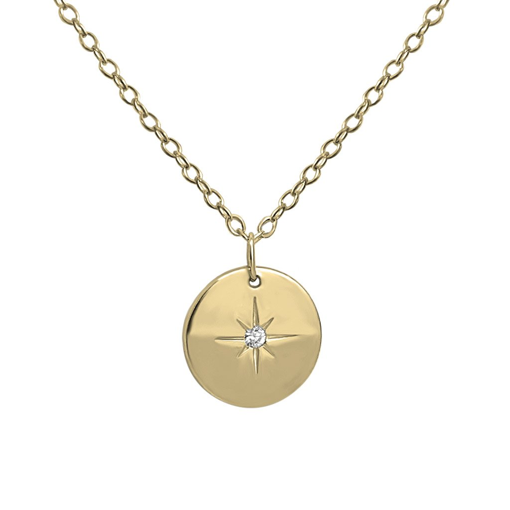 14k gold vermeil north star coin necklace zirconia stone kemmi collection jewelry