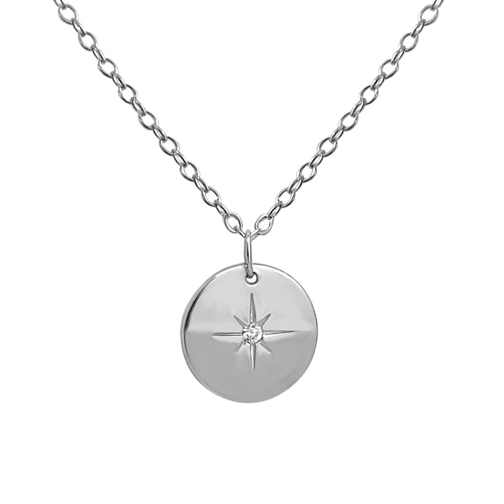sterling silver round coin north star pendant necklace zirconia stone kemmi collection jewelry boho style