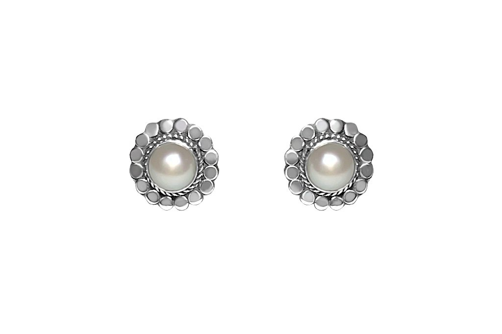 women's sterling silver stud earrings white natural pearls handmade jewelry kemmi collection