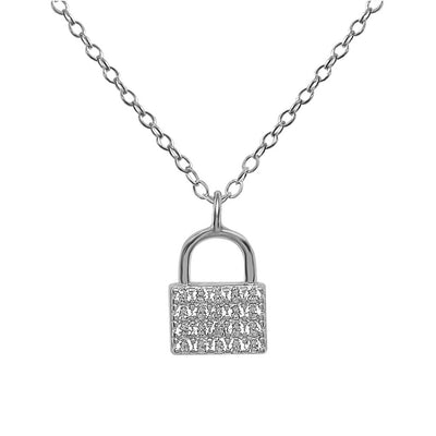 lock pendant pavé cubic zirconia necklace sterling silver jewelry boho chic kemmi collection