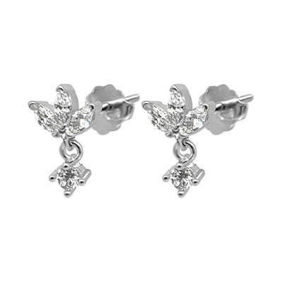 lotus shape stud earrings cubic zirconia stones side view jewelry dainty style kemmi collection