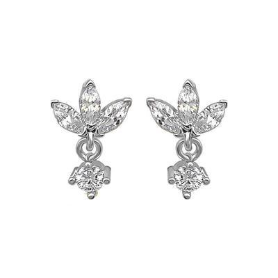lotus shape stud earrings Sterling silver cubic zirconia stones jewelry dainty style kemmi collection