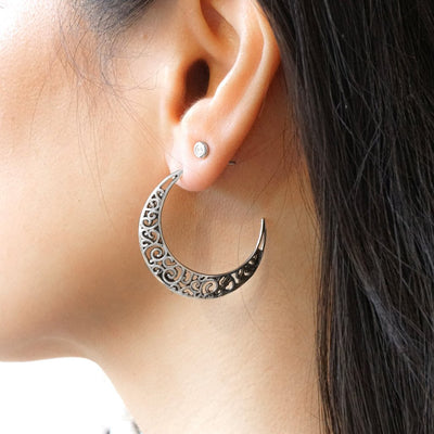 sterling silver moon crescent earrings engraved details bohemian boho style jewelry kemmi collection handmade