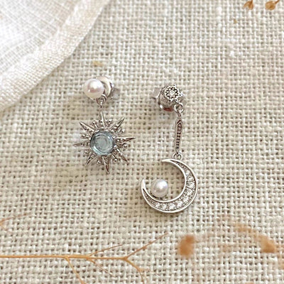 moon star drop earrings asymmetrical style handmade sterling silver blue topaz stone pearl cubic zirconia stones boho chic refined jewelry kemmi collection