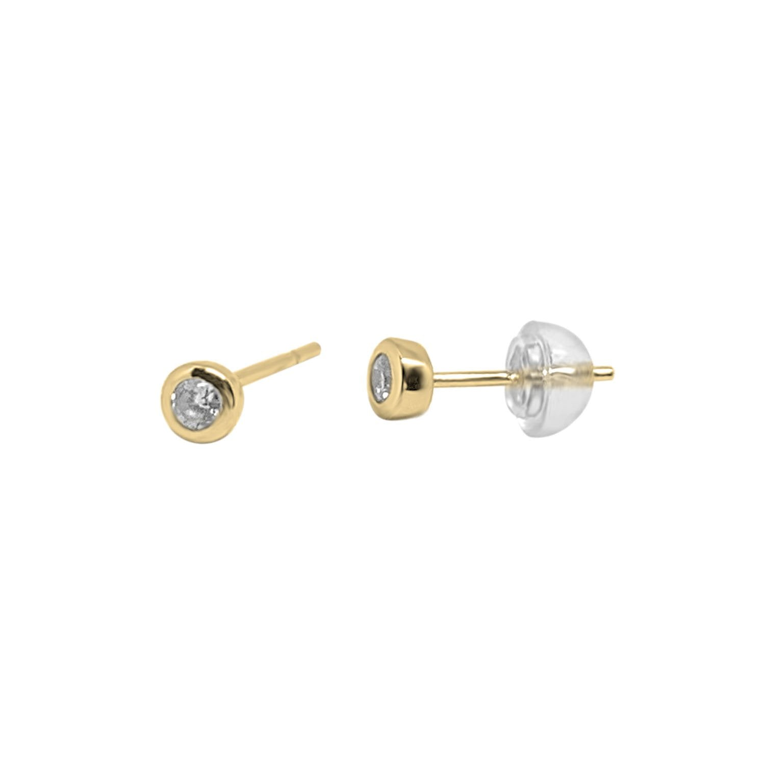 Gold CZ Studs Earrings