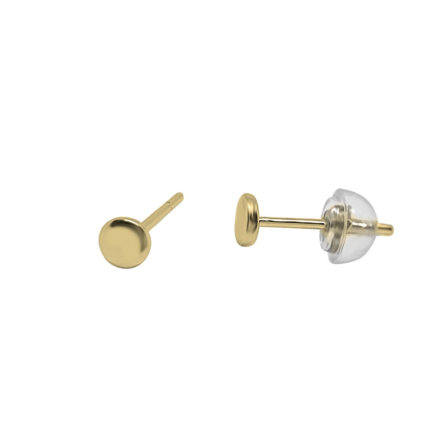 Gold Single Disc Stud Earrings