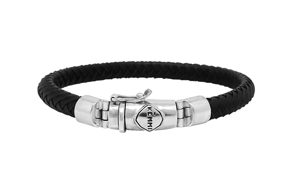 Men's leather bracelet handmade sterling silver classic fashion style jewelry Kemmi Collection