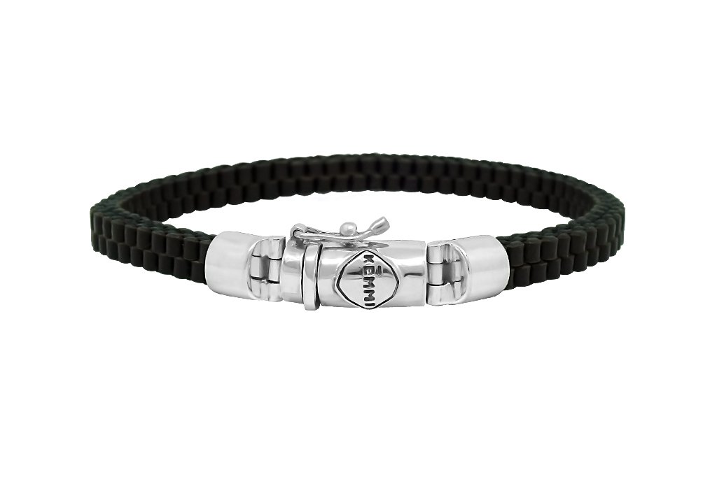 men's black leather bracelet classic silver closure modern style everyday jewelry Kemmi Collection