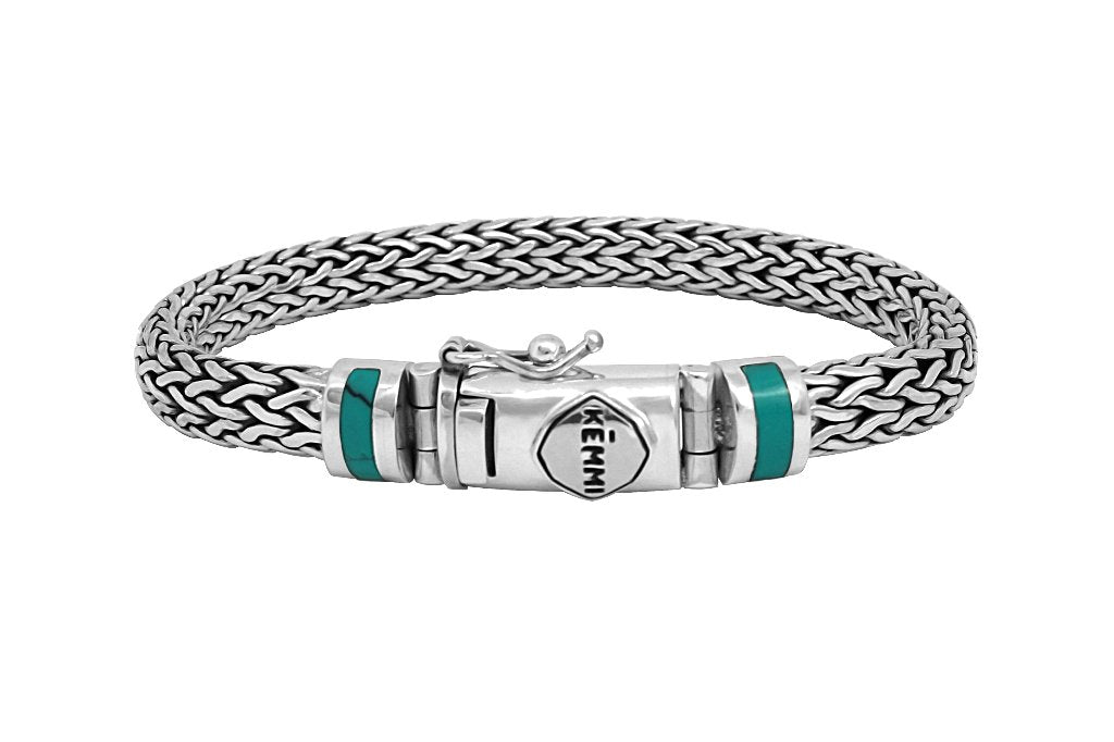 men's sterling silver statement bracelet turquoise stone modern snake chain Kemmi Collection