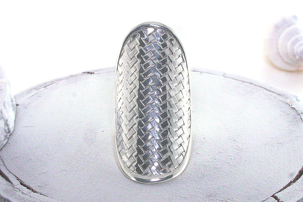 sterling silver ring statement piece braided style boho chic kemmi collection