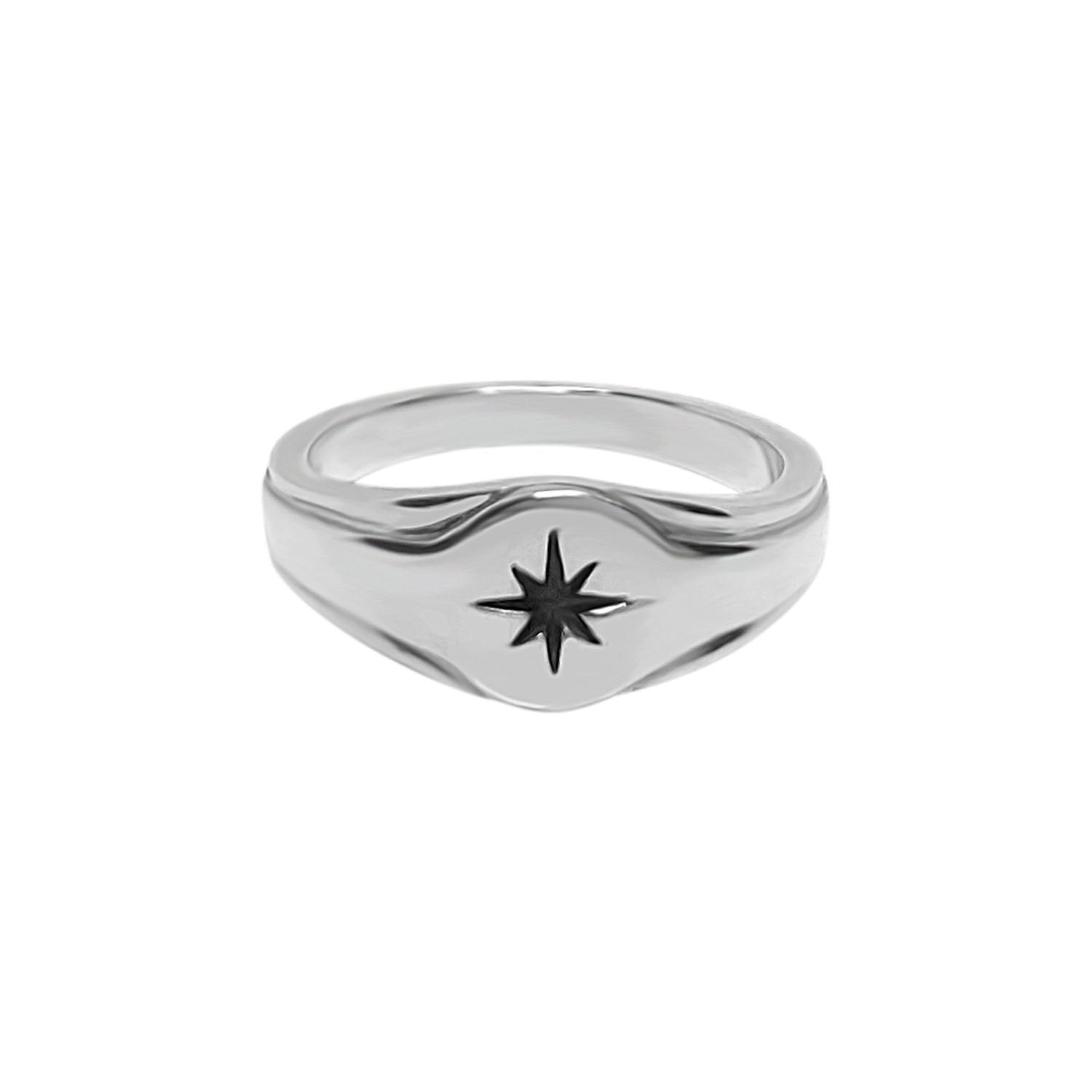Silver Signet Star Ring