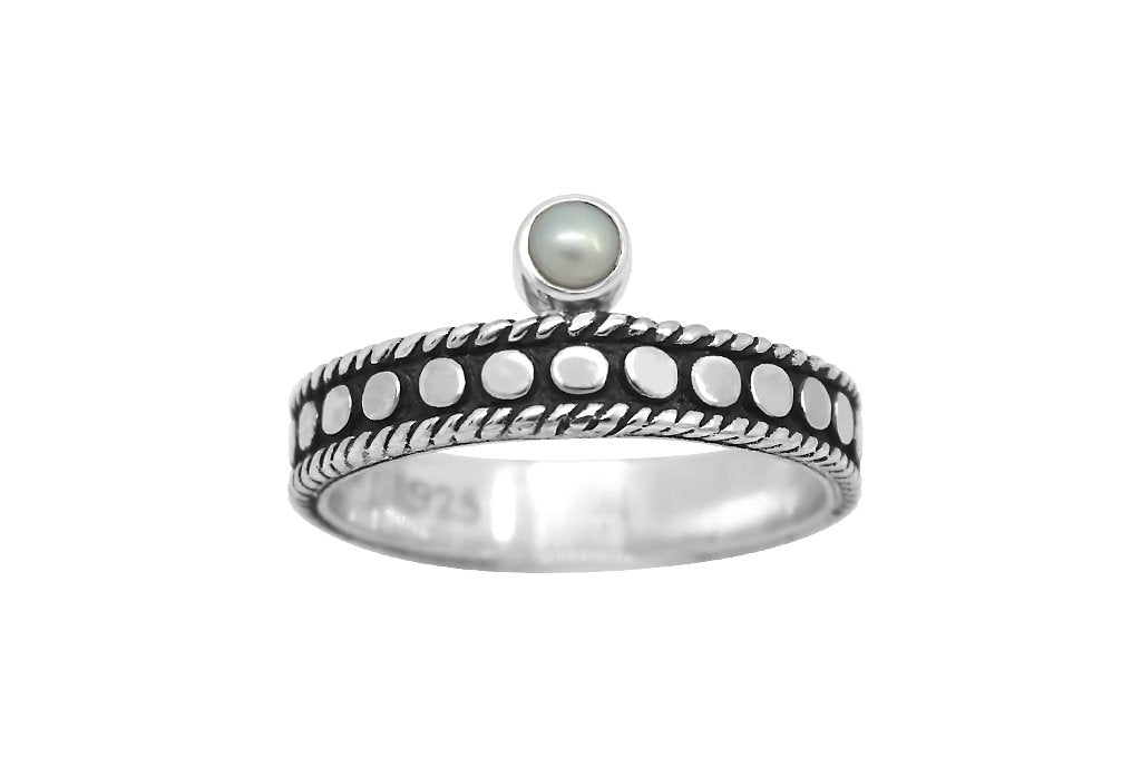 women's sterling silver oxidized ring tiny pearl stackable bohemian style kemmi collection