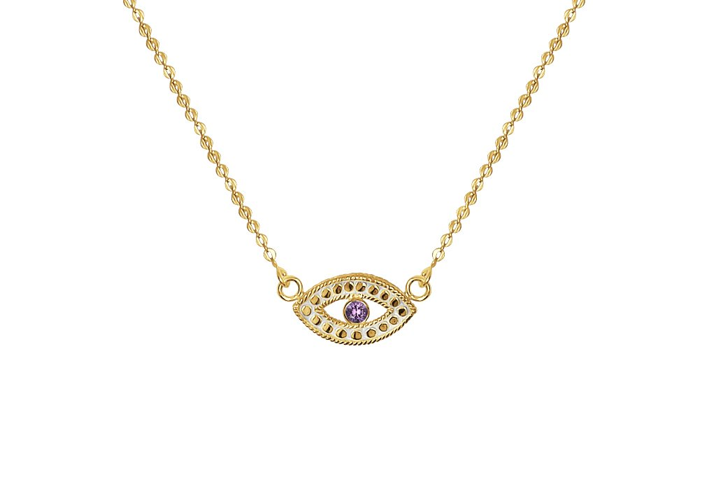 Statement  Veritas Yellow 18k gold necklace Eye of Protection Pendant Amethyst Stone boho Chic jewelry kemmi collection