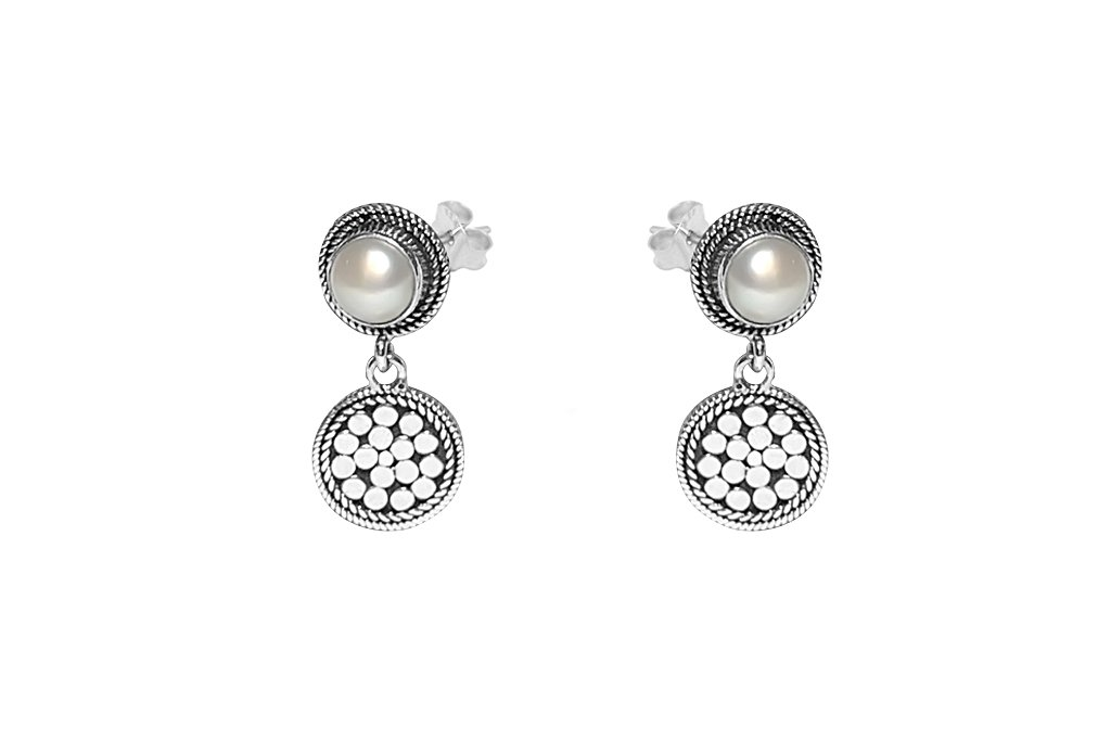 stud pearl drop disc charm earrings sterling silver bohemian chic kemmi collection