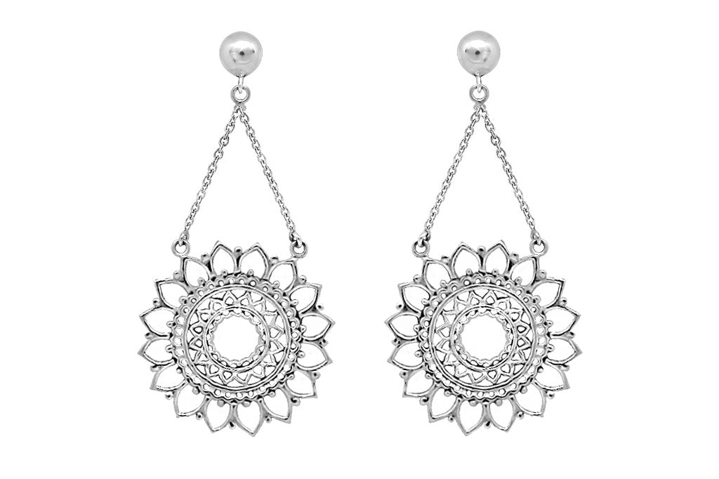 close up shot sterling silver sun mandala earrings for women boho bohemian chic style