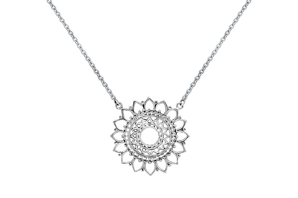 sterling silver necklace sun mandala jewelry for women boho chic