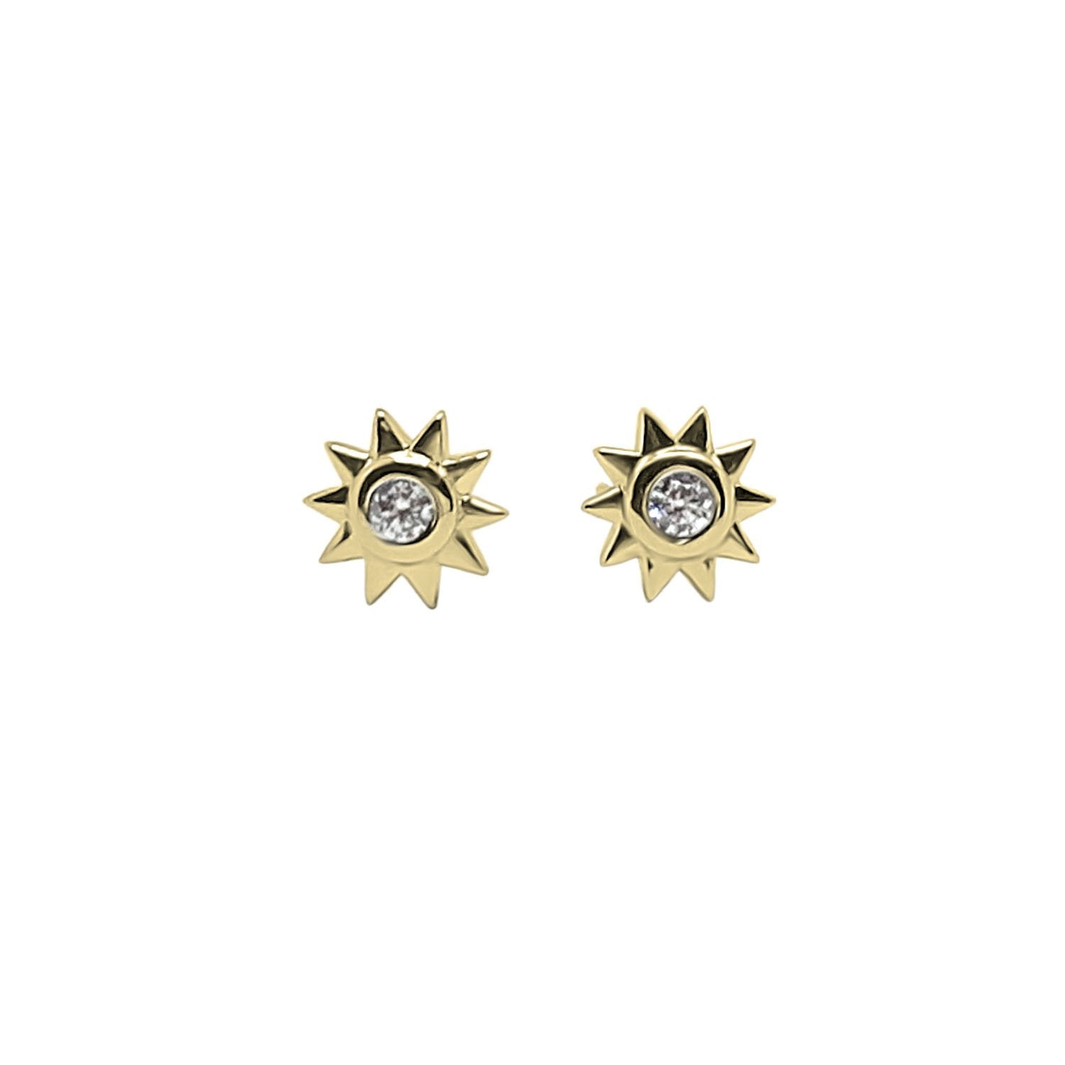 Gold Sun Cz Studs Earrings