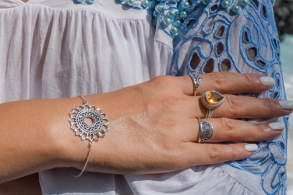 close up lifestyle shot bracelet and rings sterling silver bohemian style boho chic for women
