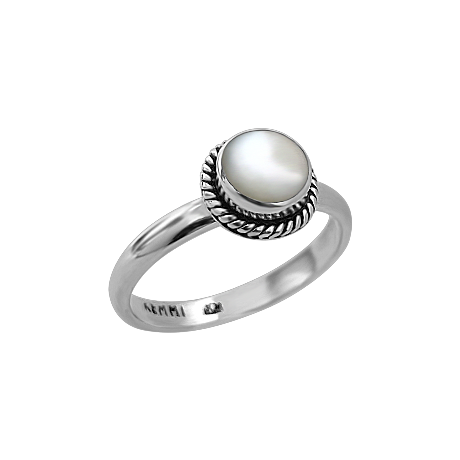 sterling silver band mother of pearl ring kemmi jewelry bohemian classic style
