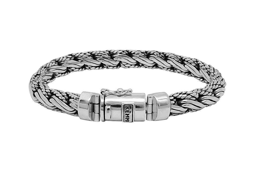 men's bracelet solid sterling silver pusher clasp closure modern quality style kemmi collection