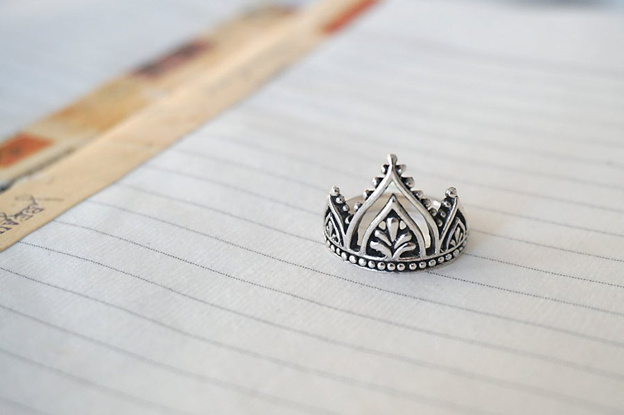 crown style sterling silver ring handmade bohemian style boho chic product shot
