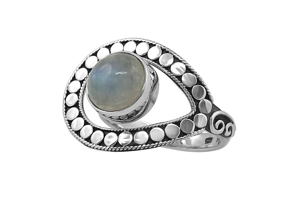 Womens eye silver ring moonstone bohemian chic fashion jewelry style handmade kemmi collection