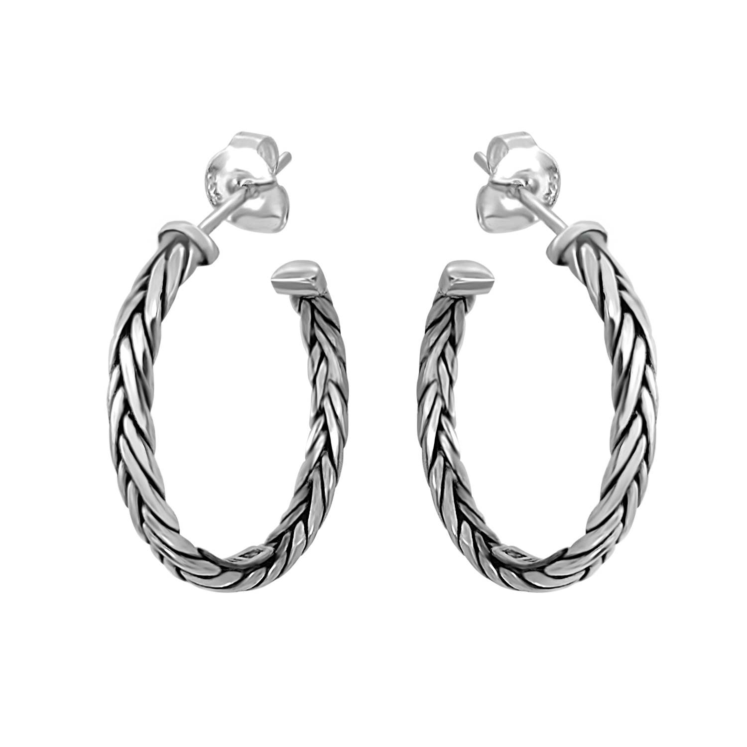 sterling silver hoop earrings braided style butterfly closure kemmi jewelry bohemian handmade