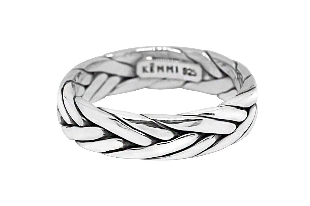 men's silver ring braided style handmade modern jewelry kemmi Collection