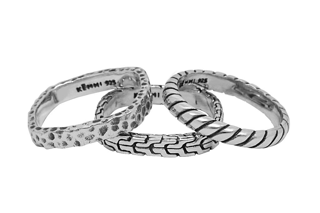 men's sterling silver rings 3 set ring stackable set bohemian modern style kemmi collection jewelry for men
