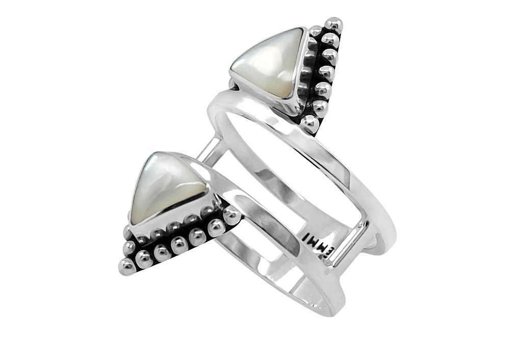 triangle mother of pearl silver ring gypsy boho festival kemmi collection