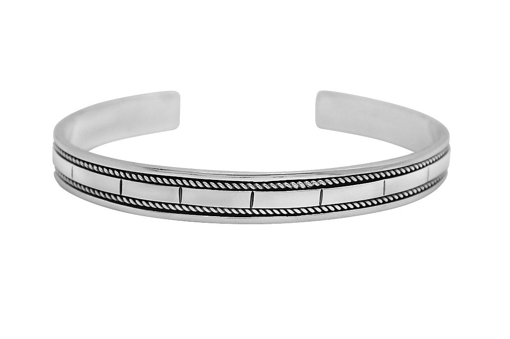 mens cuff bangle sterling silver modern everyday style classic jewelry kemmi collection