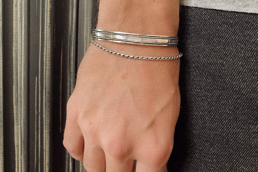 thin men's sterling silver bracelet everyday modern stackable accessory kemmi collection