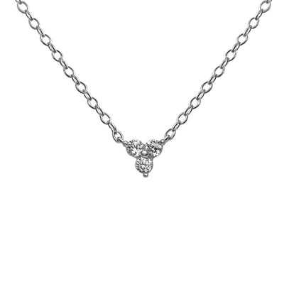 sterling silver tri cubic zirconia stone pendant necklace chain kemmi jewelry boho chic style