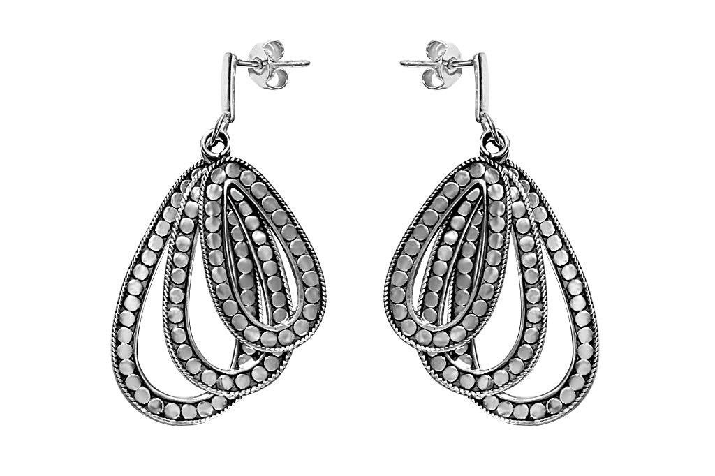 women's solid sterling silver earrings triple pear shape pendant disc pattern kemmi collection