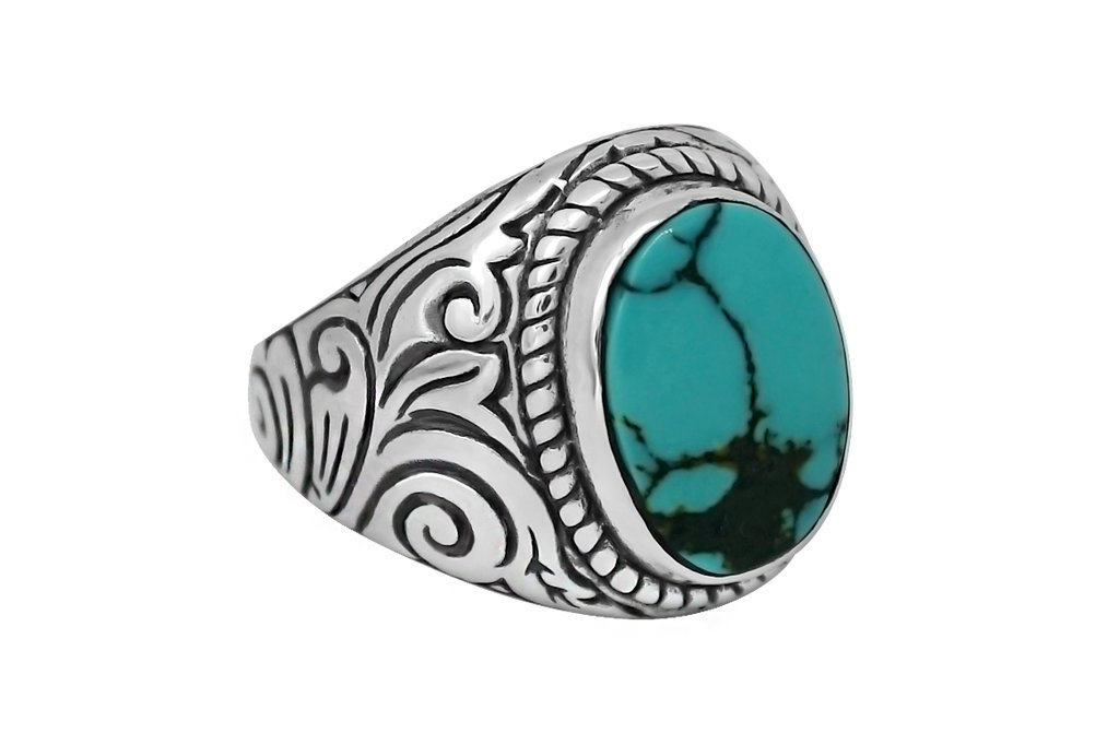 men's sterling silver ring turquoise handmade bohemian modern statement jewelry kemmi collection