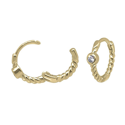 14k gold vermeil twisted hoop earrings cubic zirconia stone opening style  kemmi jewelry boho chic