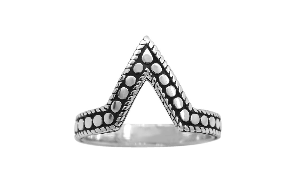 sterling silver v shaped ring discs oxidized stackable style bohemian kemmi collection
