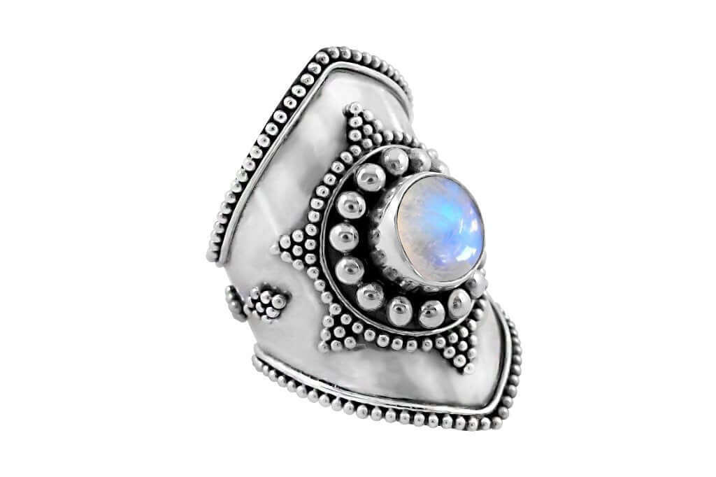 Gypsy sterling silver ring rainbow moonstone statement piece boho festival kemmi collection