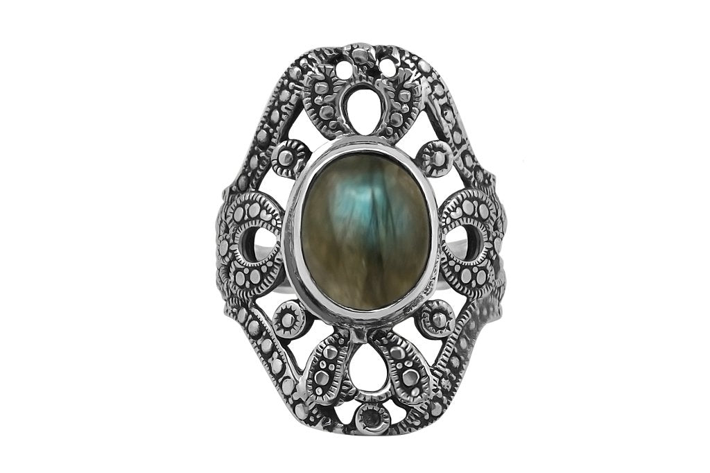 sterling silver labradorite stone ring handmade statement piece jewelry kemmi collection