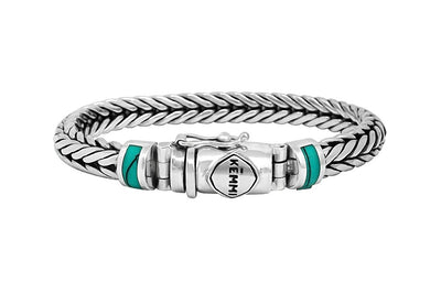 men's solid silver bracelet modern statement snake chain turquoise stone accessory kemmi collection