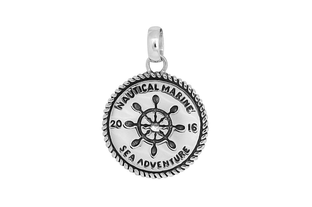 men's sterling silver wheel pendant nautical style handmade jewelry kemmi collection
