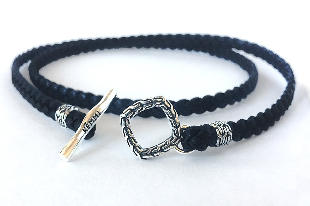 men's black leather wrap bracelet handmade braided modern silver toggle closure Kemmi Collection