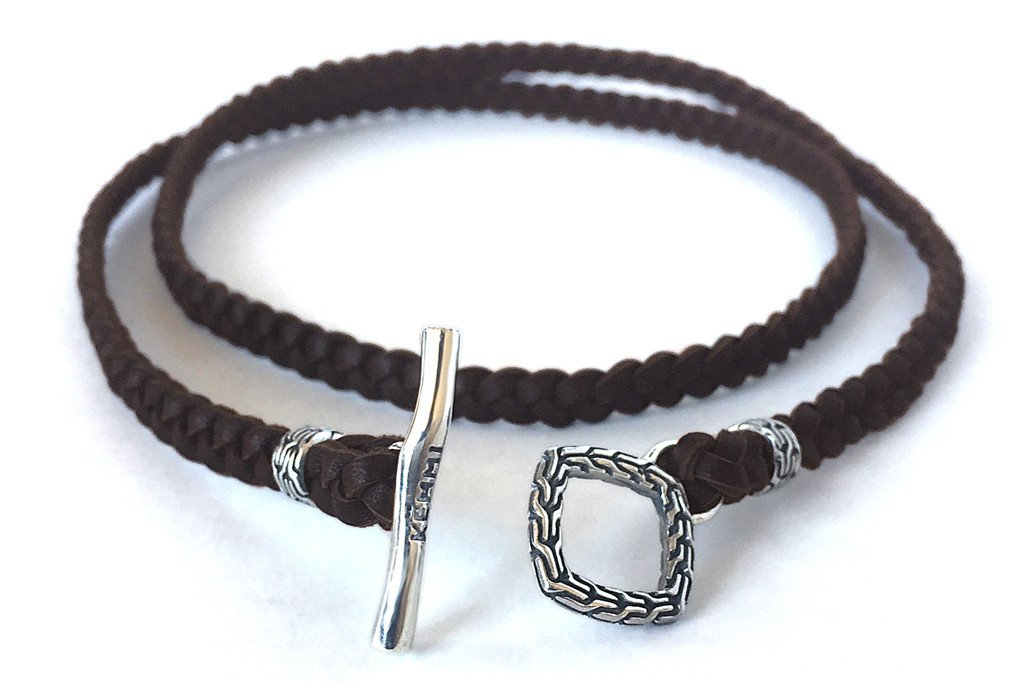 Men's brown leather wrap bracelet braided style sterling silver toggle Kemmi Collection