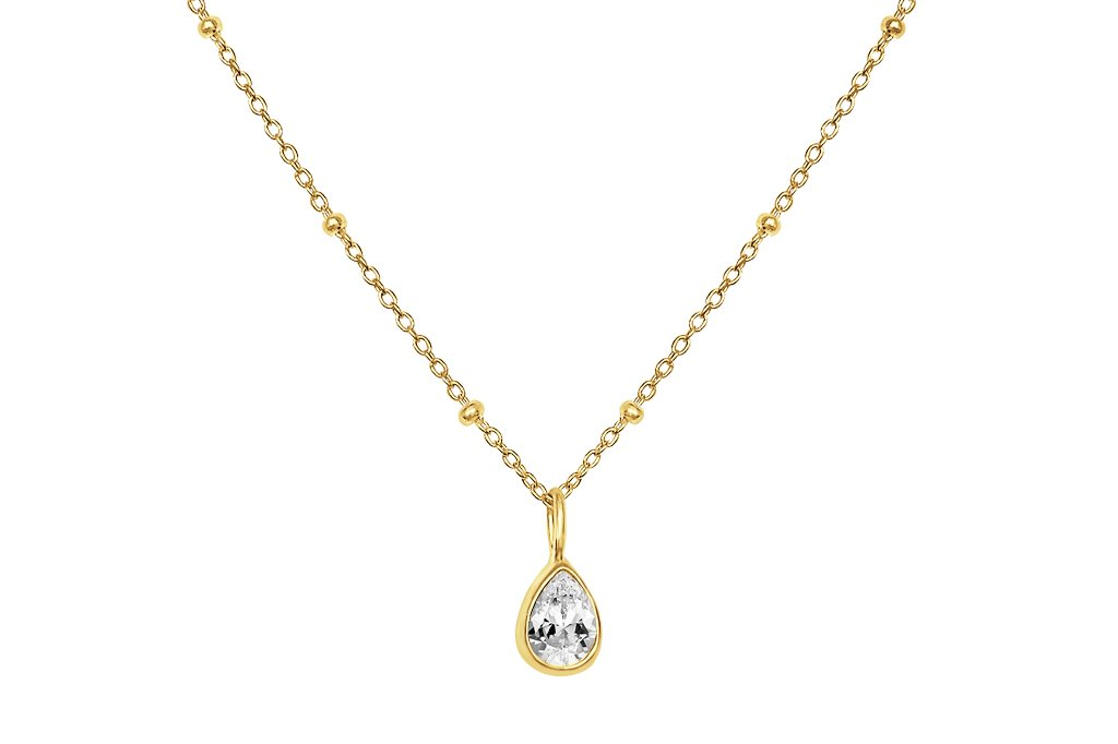 Yellow 18k Gold Satelite Necklace Basic Everyday Style Ball Station Chain Cubic Zirconia Stone Pendant Boho chic Kemmi Collection
