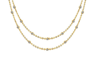 Yellow Gold Necklace Bezel Chain Cubic Zirconia Layered Style Boho Chic Jewelry Kemmi Collection