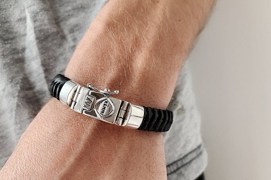 men's black leather woven bracelet silver closure security clasp kemmi collection