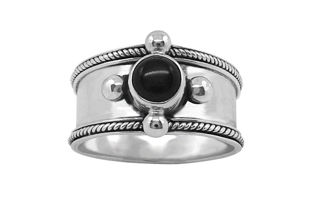 women's sterling silver ring black onyx stone handmade boho chic jewels kemmi collection