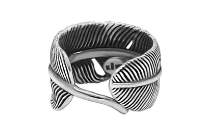 feather style sterling silver ring mens adjustable bohemian modern style