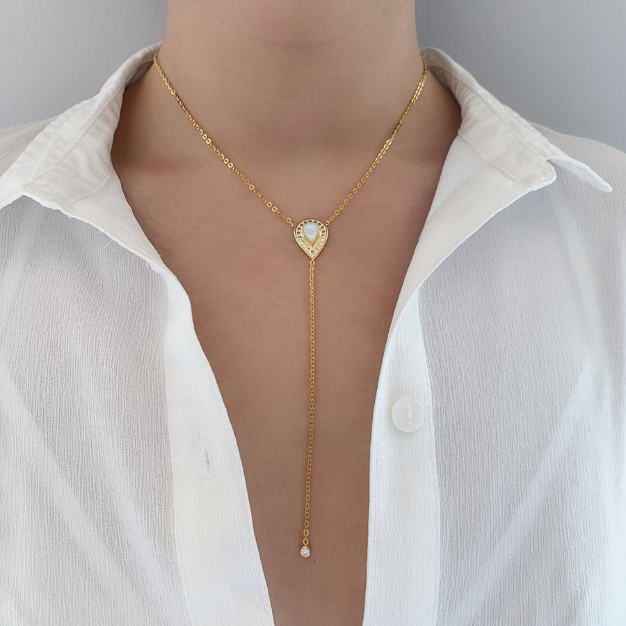 Y necklace Style 18k yellow gold large moonstone pendant with drop style cubic zirconia stone statement necklace jewelry kemmi collection