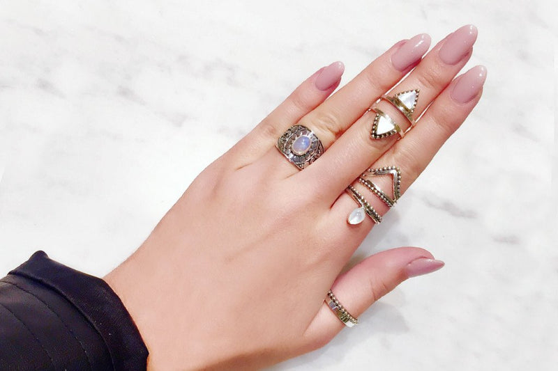 bague triangle nacre argent gypsy boho festival collection kemmi